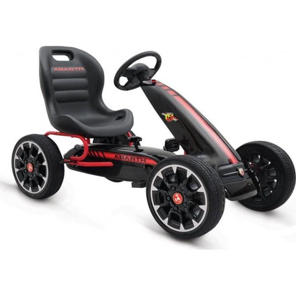 Παιδικό Αυτοκινητάκι Go Kart  Abarth 500 Assetto Black με πετάλια και τροχούς EVA 3800146242701
